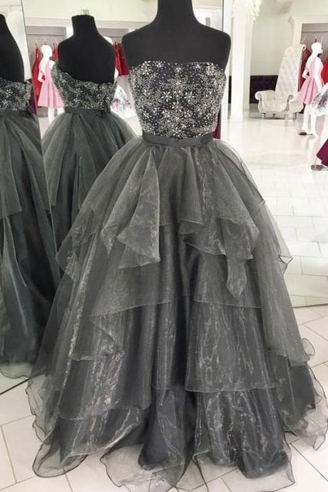 Gray tulle strapless beading long ruffles evening dress, homecoming dress