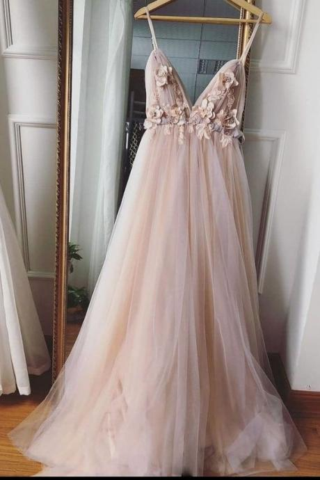 Simple sweetheart neck tulle lace long prom dress, tulle evening dress