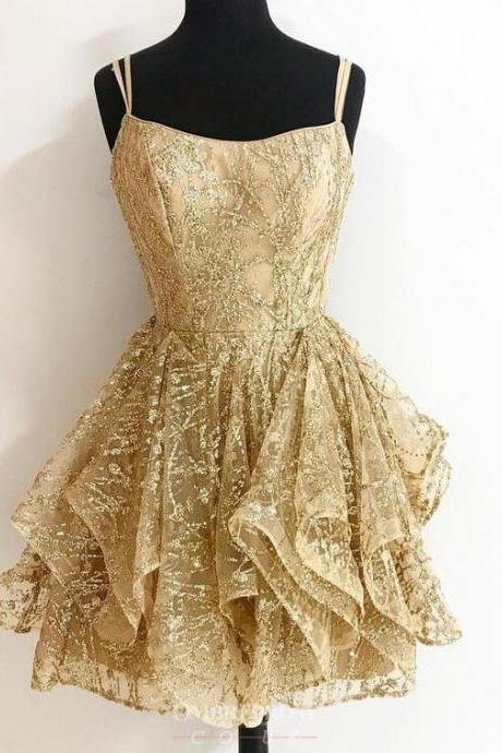 A-line Sequins Gold Short Prom Dresses Glitter Cocktail Party Dress
