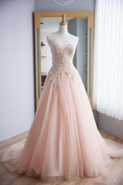 Blush pink customize long lace up senior prom dress