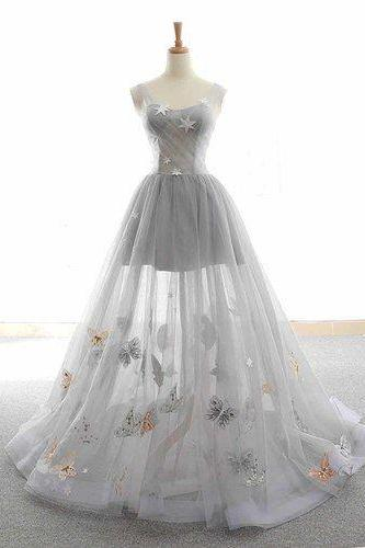 Cute Tulle Lace Prom Dress, Long Evening Gowns,Gray tulle sparkly Long