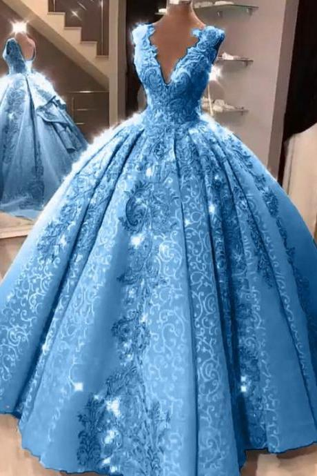 Ball Gown Plus Size Prom Dress Vintage Princess Prom Dress