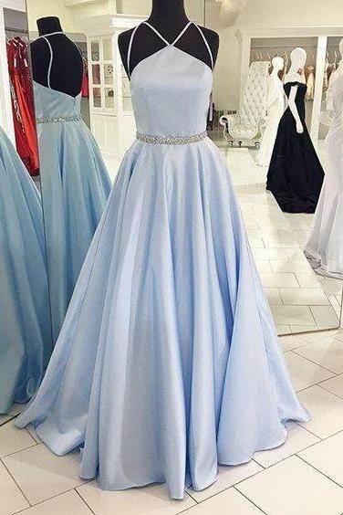 Pale Light Blue Prom Dress Ball Gown Prom Dress