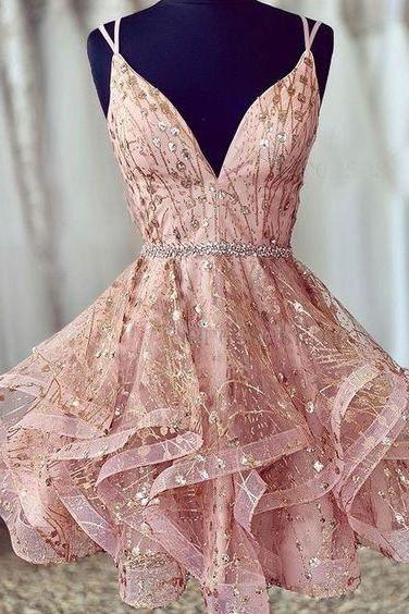 Pink Straps Short Homecoming Dresses Waist with Beaded