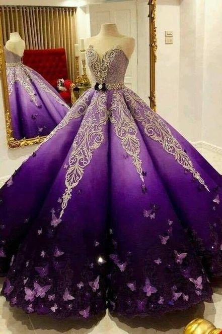 Custom Made Sweetheart Ball Gown , Unique Prom Dress