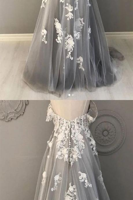 Gray tulle lace long prom dress gray tulle lace formal dress