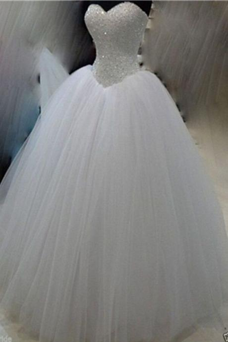 Classy White Ball Gown Long Beaded Sweetheart Lace Up Wedding Dresses
