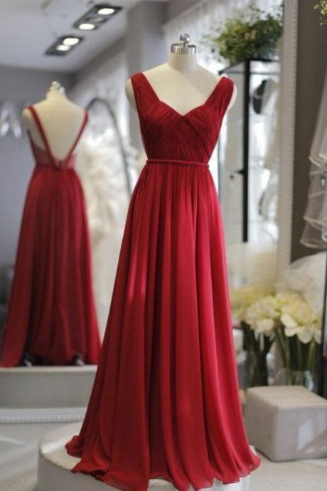 Red chiffon open back simple long dresses,evening dresses