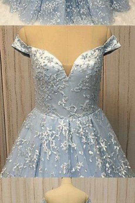 Baby Blue Lace Off Shoulder Long A Line Formal Prom Dress, Long Evening Dress