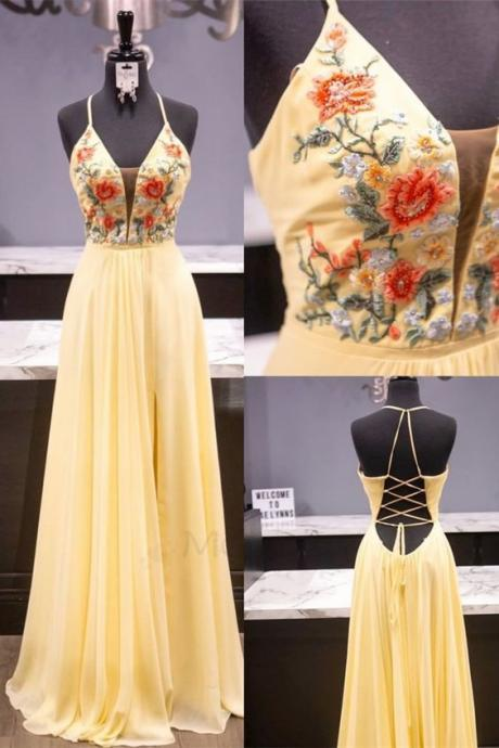 Elegant Yellow and Floral Embroidered Prom Dress