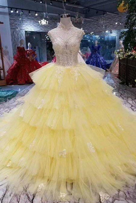 Yellow Tulle High Neck Corset Backless Appliqeus Wedding Dress With Long Train
