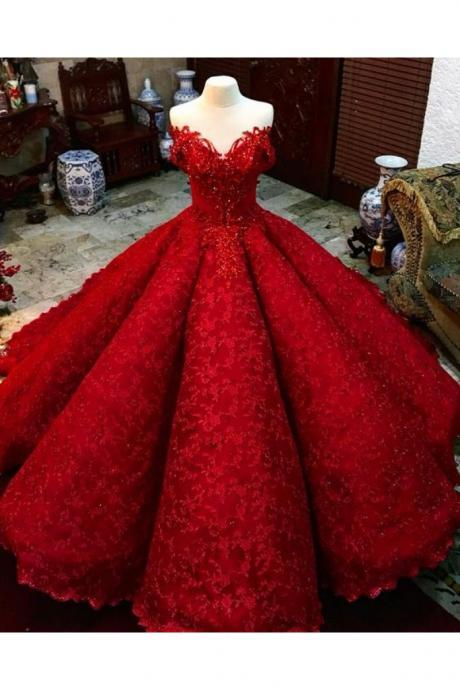 Ball Gown Red Prom Dress With Beads Off the Shoulder wedding dresses, Floor-Length Lace Quinceanera Evening Dresses