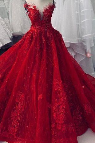 Sexy red sparkling wedding ball gown dress chapel train with floral lace applique and beads