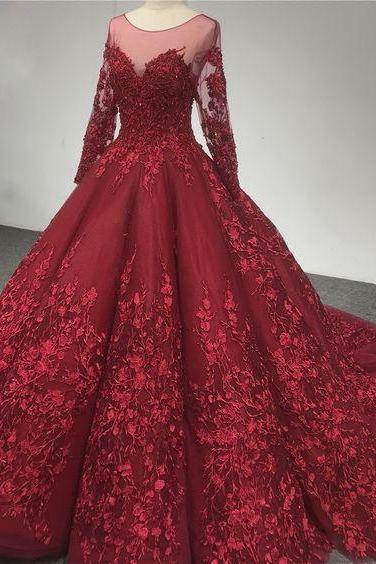 Luxury High Quality French Lace Prom Dress,Long Sleeve Burgundy Prom Dress