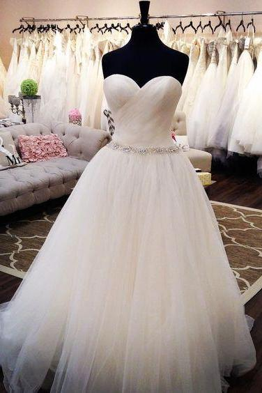 Sweetheart White Tulle Prom Dress