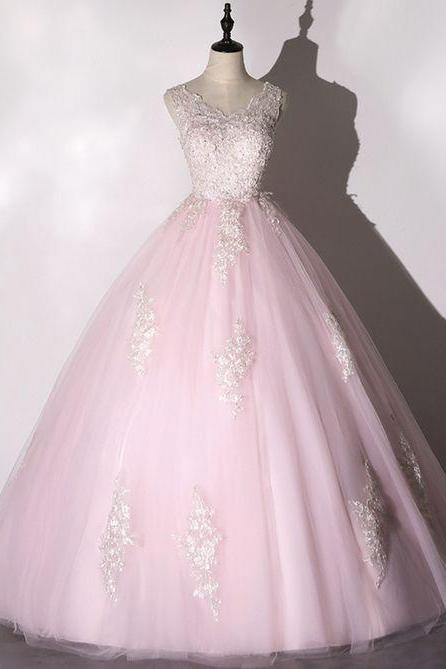 Pink Tulle Lace Long Ball Gown Dress Formal Prom Dress