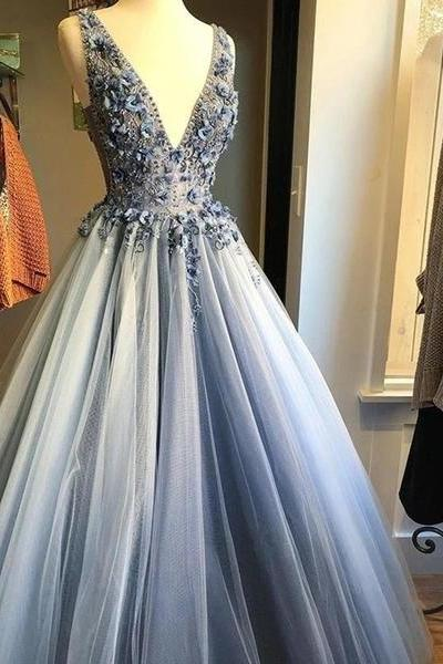 V Neck Gray Tulle 3D Floral Long Prom Dresses, Gray Floral Tulle Formal Evening Dresses
