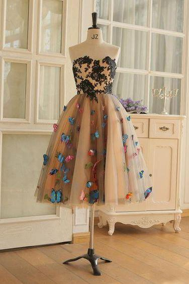 Tea Length Butterfly Prom Dress A-Line Black Lace Appliques Brown Prom Dress