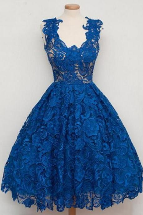 Royal Blue Lace Vintage Style Short Vintage Homecoming Dress
