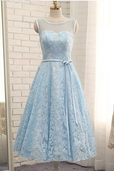 Pale Blue Tea-Length Scoop Sleeveless Lace Homecoming Dress,Sheer Neck Prom Dress With Belt
