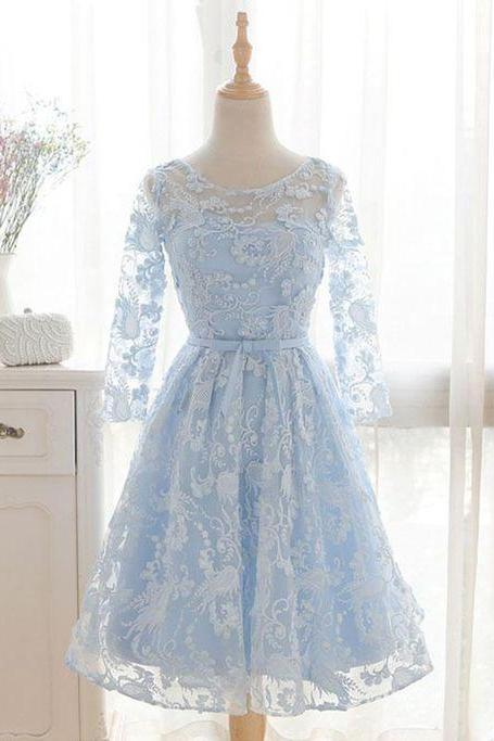 Blue round neck lace short homecoming dress