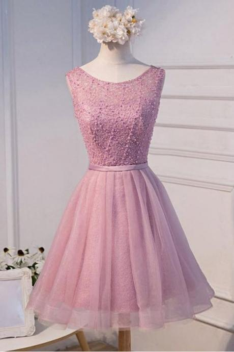 A-line Scoop Neck Short Tulle Homecoming Dress With Beading