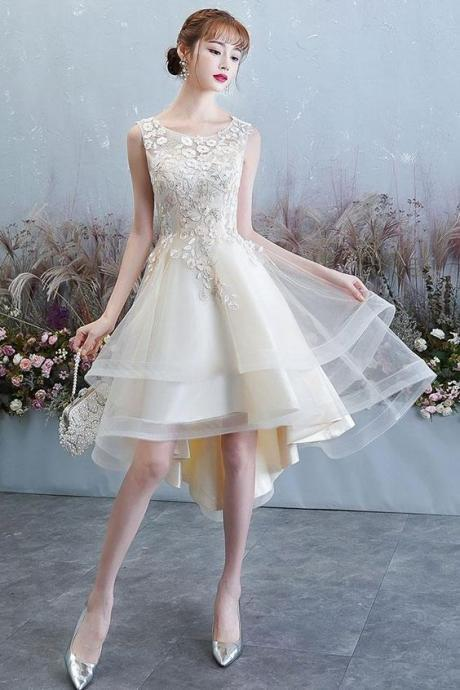 Champagne tulle lace high low dress dress