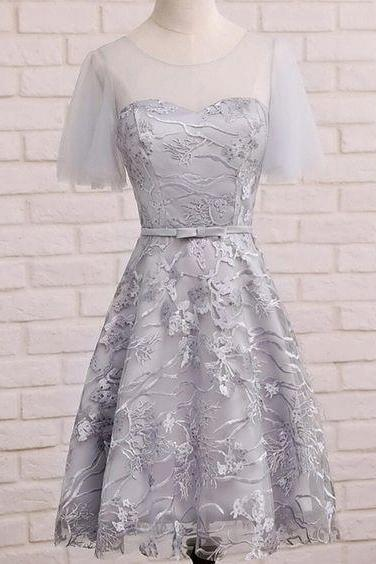 Short Sleeve Gray Lace Cute Homecoming Dresses