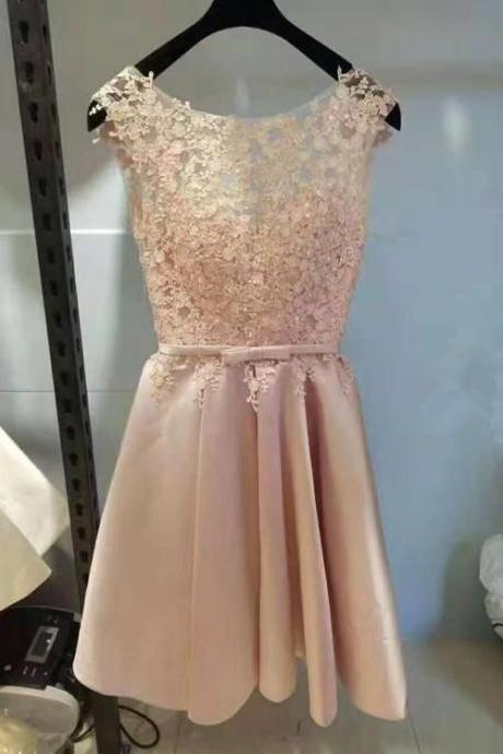 Pink Short Lace and Satin Lovely Knee Length Formal Homecoming Dress