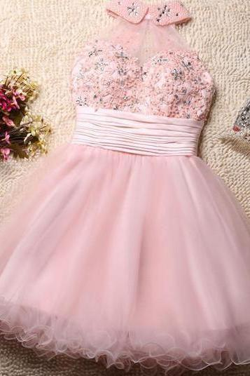 Lovely Pink Tulle Homecoming Dresses, Beaded And Pearl Short Dresses