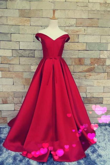 Off the Shoulder Prom Dress,Red Prom Dress,Satin Prom Dress, Maxi Ball Gowns, Cheap Prom Dress, Party Dresses 2017,Cheap evening Dress