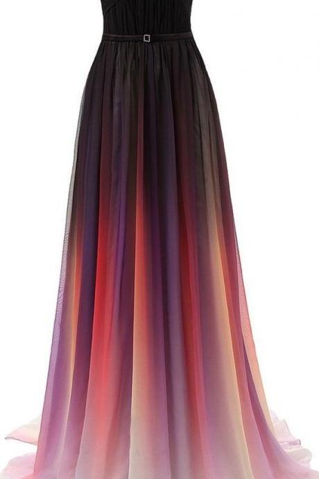 Gradient Prom Dress,Strapless Prom Dress,Maxi Prom Dress,Fashion Prom Dress, Cheap Party Dress, 2017 Evening Dress