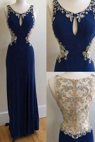 Royal Blue Prom Dress,Beaded Prom Dress,Maxi Prom Dress, Bodycon Prom Dress,Floor Length Prom Dress, Cheap Prom Dress, Prom Dresses 2017