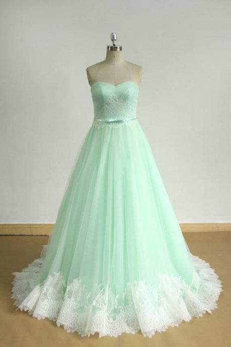 Sweetheart Prom Dress,Pink Prom Dress,A Line Prom Dress,Tulle Prom Dress,Mint Green Prom Dress,Maxi Prom Dress, Cheap Party Dress, 2017 Evening Dress