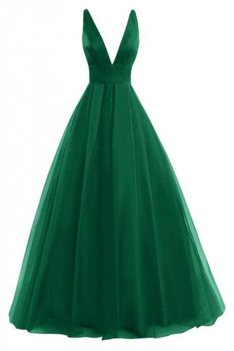 Hunter Green Prom Dress,V Neck Prom Dress,Empire Prom Dress,Maxi Prom Dress, Sexy Evening Dress,Cheap Prom Dress, Prom Dresses 2017