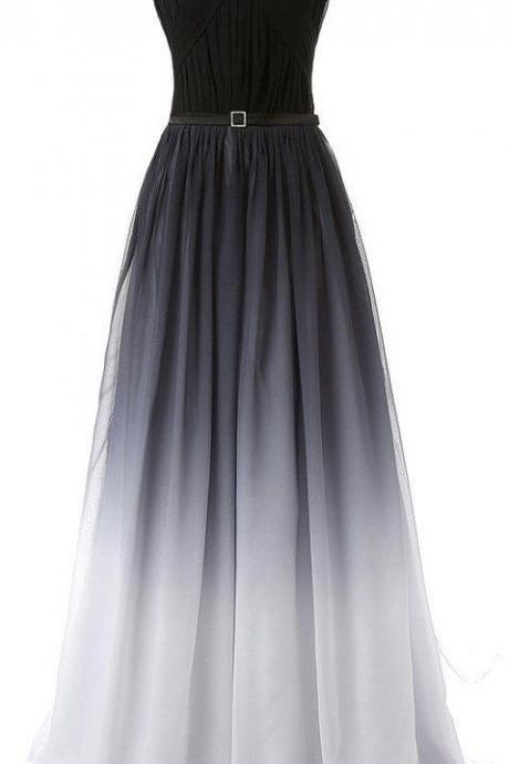 Gradient Chiffon Floor Length A-Line Pleated Evening Dress Featuring Ruched Straight Across Bodice