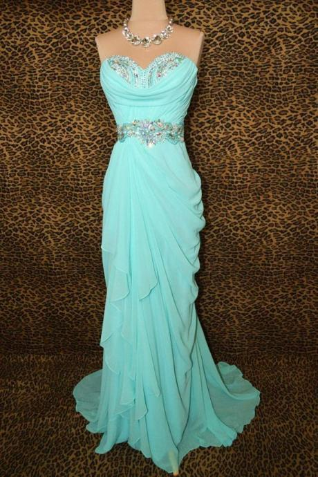 Sweetheart Prom Dress,Beaded Prom Dress,Pleated Prom Dress, Maxi Prom Dress, Cheap Prom Dress, Prom Dresses 2017,chiffon prom Dress