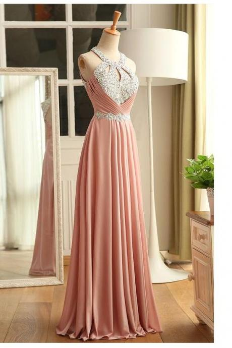 Halter Prom Dress,Beaded Prom Dress,Bodice Prom Dress,Fashion Prom Dress, Cheap Party Dress, 2017 Evening Dress