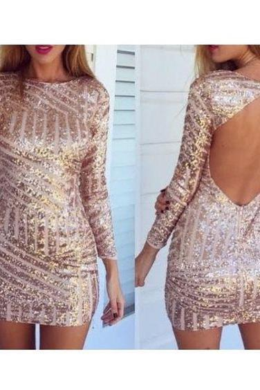 Backless Prom Dress,Sequins Prom Dress,Long Sleeve Prom Dress,Homecoming Prom Dress, Cheap Party Dress, 2017 Evening Dress