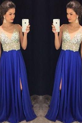 V-Neck Prom Dress,Beaded Prom Dress,Split Prom Dress,Fashion Prom Dress,Sexy Party Dress, 2017 New Evening Dress