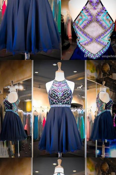 Crystal Beaded Homecoming Dress,Halter Prom Gown,Mini Prom Dress,Fashion Prom Dress,Sexy Party Dress, 2017 New Evening Dress