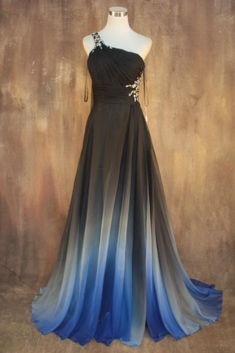 Gradient Color Prom Dresses,One Shoulder Prom Dresses,Beaded Evening Dresses,Fashion Prom Dress,Sexy Party Dress, 2017 New Evening Dress
