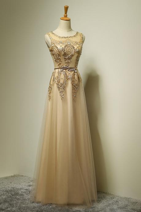 Exquisite Prom Dress,Beaded Prom Dress,Illusion Prom Dress,Fashion Prom Dress,Sexy Party Dress, 2017 New Evening Dress