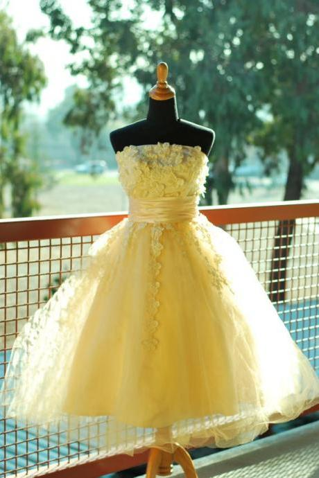 Floral Prom Dress,Yellow Prom Dress,Midi Prom Dress,Fashion Prom Dress,Sexy Party Dress, 2017 New Evening Dress
