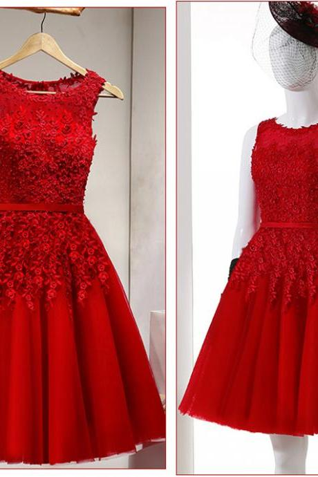 Floral Homecoming Dress,Red Bridesmaids Dress,Short Prom Dress,Fashion Prom Dress,Sexy Party Dress, 2017 New Evening Dress