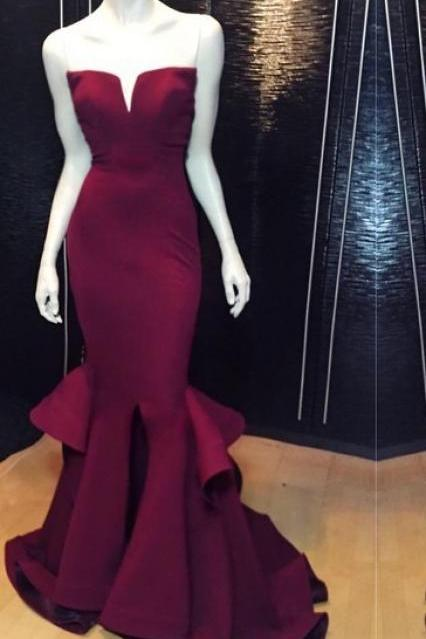 Mermaid Prom Dress,Flouncing Prom Dress,Wine Red Prom Dress,Fashion Prom Dress,Sexy Party Dress, 2017 New Evening Dress