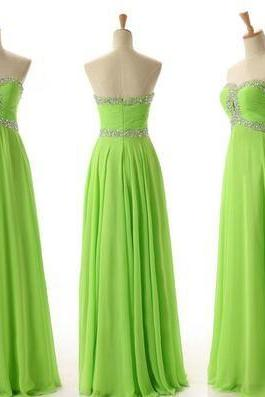Lime Green Prom Dress,Beaded Prom Dress,A Line Dress,Fashion Prom Dress,Sexy Party Dress, 2017 New Evening Dress