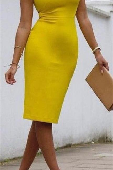 Sleeveless Causual Dress,Pencil Prom Dress,Yellow Prom Dress,Fashion Prom Dress,Sexy Party Dress, 2017 New Evening Dress