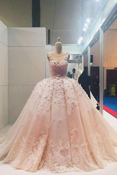 Applique Quinceanera Dress,Illusion Ball Gown,Floral Prom Dress,Fashion Prom Dress,Sexy Party Dress, 2017 New Evening Dress