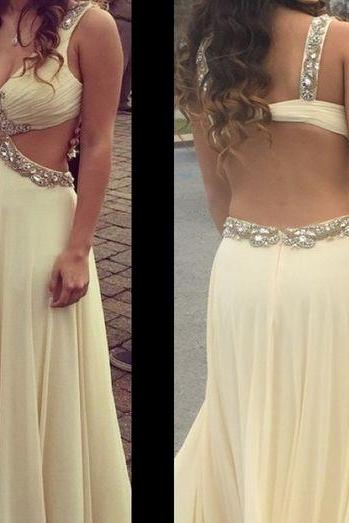 Beaded Prom Dress,Backless Prom Dress,Deep V Prom Dress,Fashion Prom Dress,Sexy Party Dress, 2017 New Evening Dress